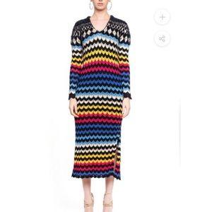 Farm Rio Modern Chevron maxi sweater dress size S